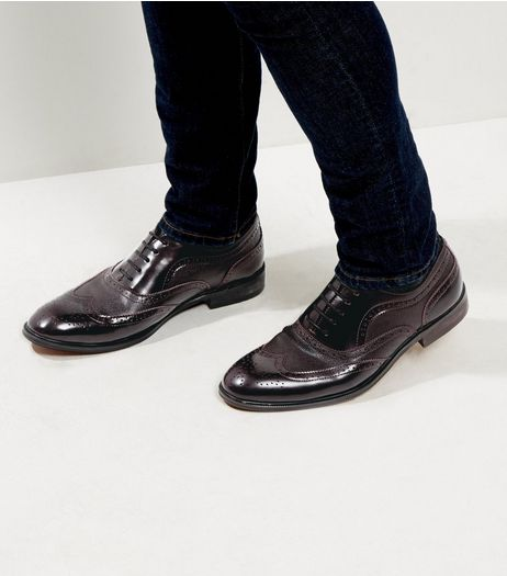 Burgundy Embossed Brogues  | New Look