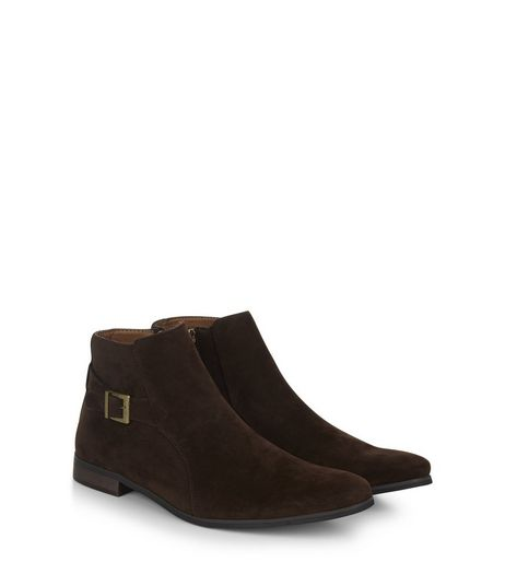 Brown Suedette Buckle Side Chelsea Boots | New Look