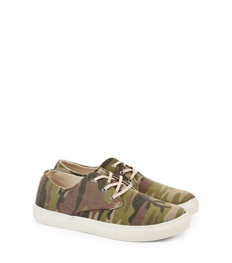 Green Camo Print Canvas Plimsolls | New Look