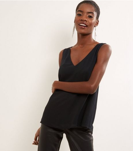 Black Necklace Trim V Neck Sleeveless Top  | New Look