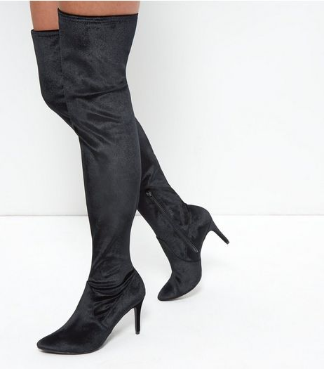 Black Velvet Over The Knee Pointed Boots | New Look