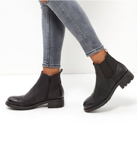 Black Leather-Look Chelsea Boots | New Look