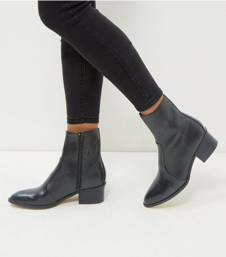 Black Leather High Ankle Pointed Boots  | New Look