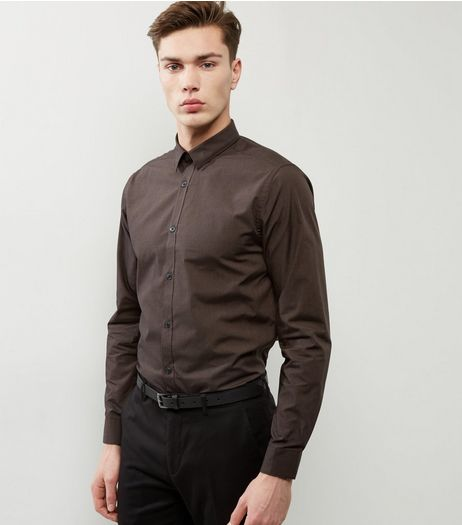 Brown Cross Dye Long Sleeve Shirt | New Look
