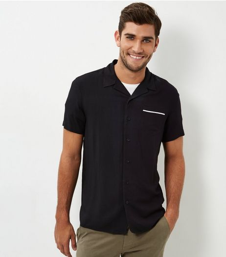 Black Tipped Revere Short Sleeve Shirt  | New Look