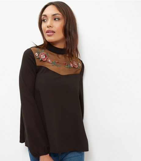 Black Sheer Embroidered Panel Long Sleeve Blouse  | New Look
