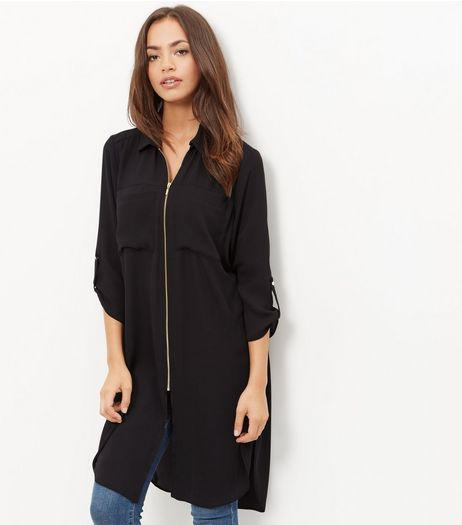 Black Zip Front Longline Shirt | New Look