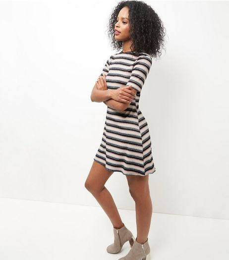 Pink Metallic Stripe Mini Dress  | New Look
