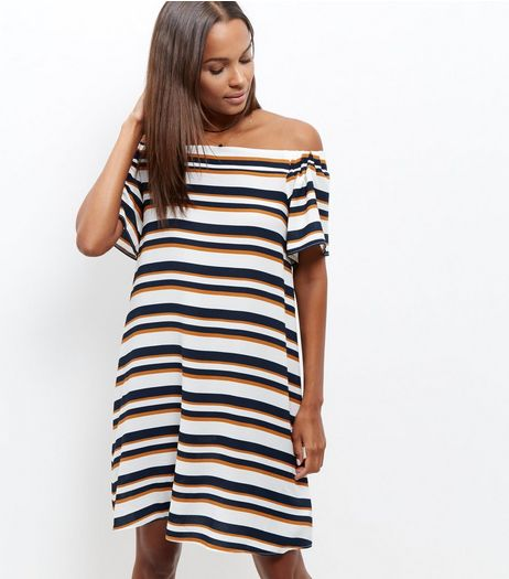 Cream Stripe Bardot Neck Midi Dress  | New Look