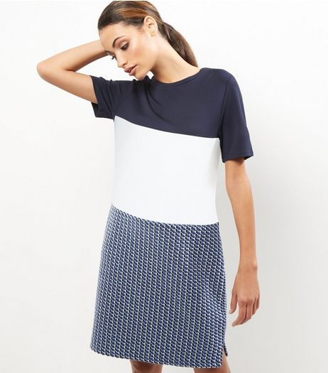 Blue Colour Block Jacquard Texture Tunic Dress | New Look