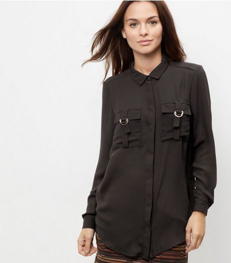 Black Double Pocket Front Buckle Shirt  | New Look