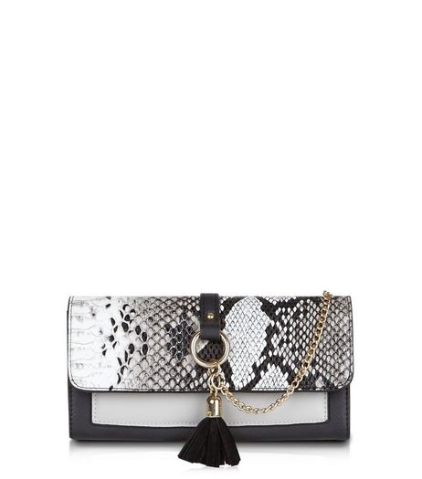 Black Snakeskin Textured Chain And Tassel Purse | New Look