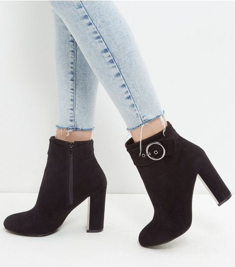 Black Suedette Silver Buckle Strap Boots | New Look