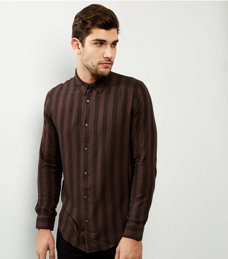 Brown Stripe Long Sleeve Shirt | New Look