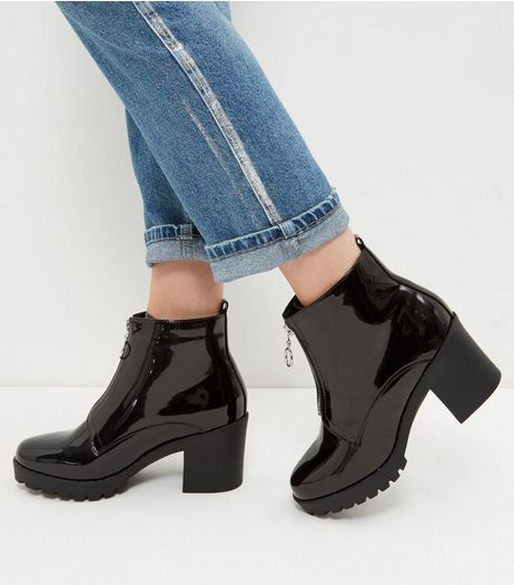 Black Patent Front Zip Chunky Ankle Boots | New Look