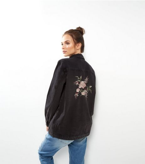 Black Foral Embroidered Shacket | New Look