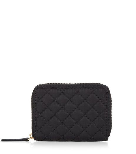 Black Quilted Zip Around Card Holder | New Look