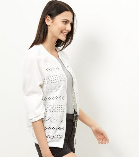 Cameo Rose Cream Broidery Panel Bomber Jacket | New Look