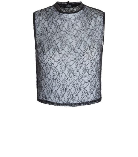 Teens Black Lace Sleeveless Funnel Neck Top | New Look