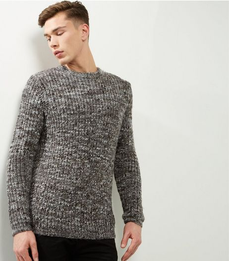 Brown Speckled Ribbed Crew Neck Jumper | New Look