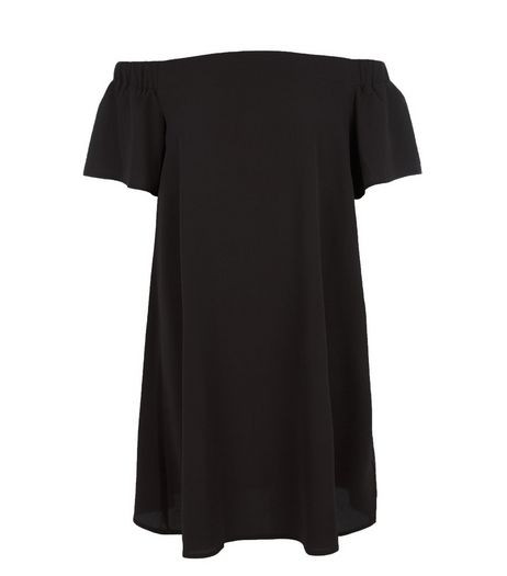 Black Bardot Neck Dress | New Look