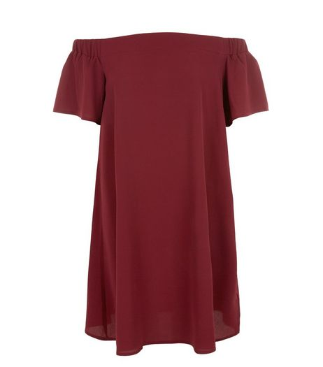 Burgundy Bardot Neck Dress | New Look