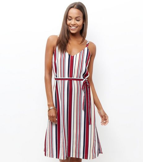 Cream Stripe Tie Waist Midi Dress  | New Look