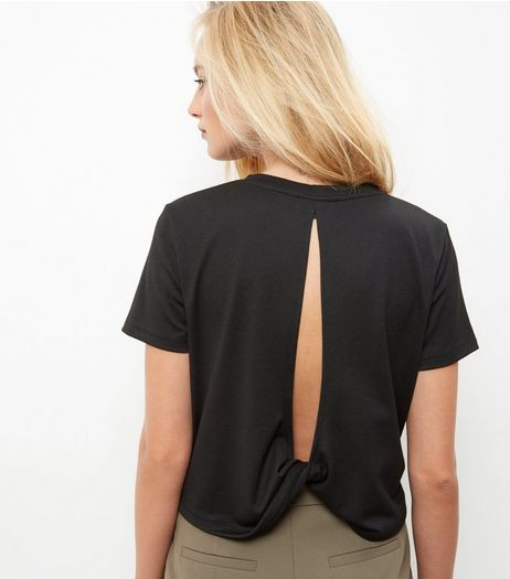 Black Twist Cut Out Back T-Shirt  | New Look
