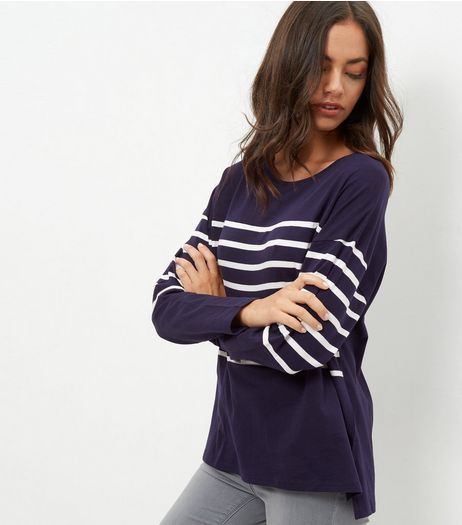 Blue Stripe Print Contrast Jumper | New Look