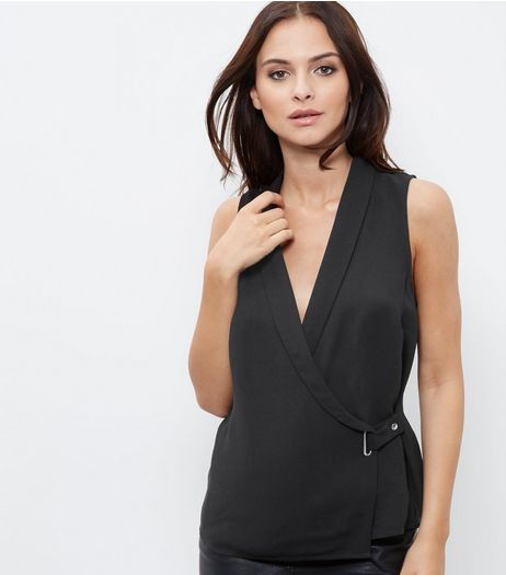 Black Sleeveless Wrap Front Top | New Look