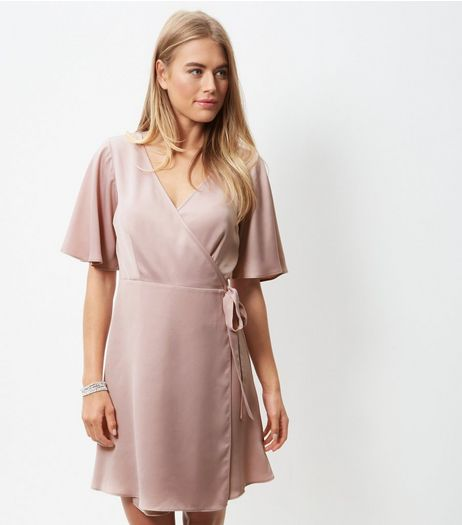 Pink Sateen Flutter Sleeve Wrap Dress | New Look