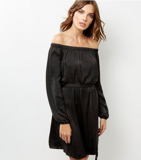 Black Sateen Bardot Neck Belted Dress | New Look