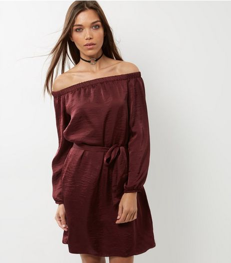 Burgundy Sateen Bardot Neck Belted Dress | New Look