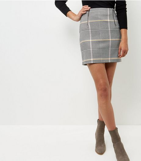 Black Check Double Zip Front A-Line Skirt  | New Look