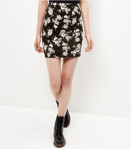 Black Floral Print Tube Skirt  | New Look