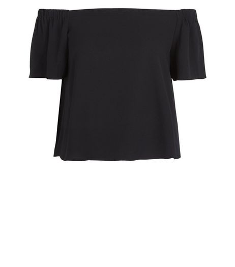Petite Black Short Sleeve Bardot Neck Top | New Look