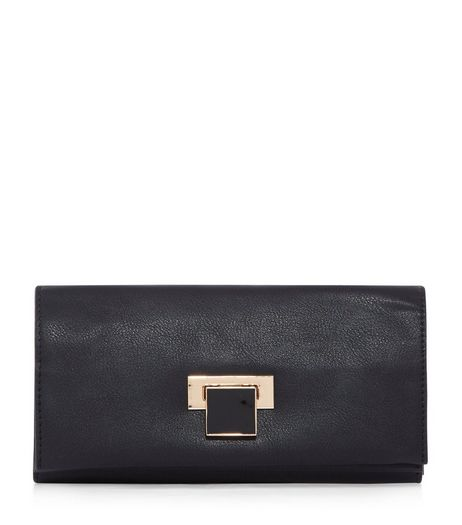 Black Foldover Purse | New Look