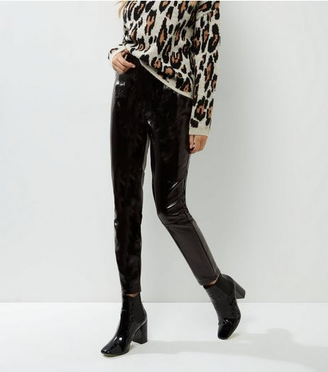 Black High Shine Patent Trousers  | New Look