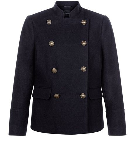 Petite Navy Military Coat | New Look