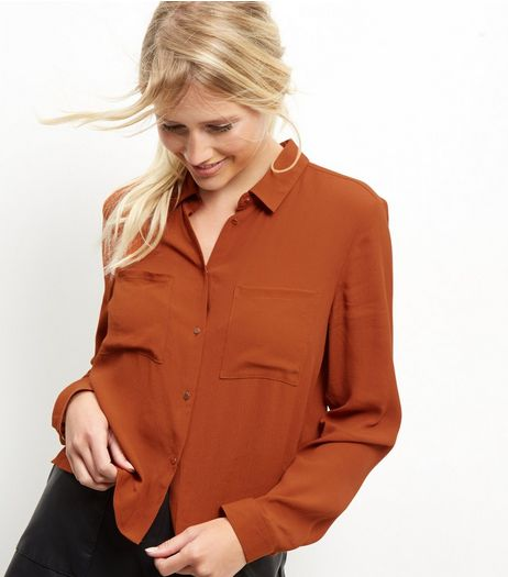 Brown Crop Shirt | New Look