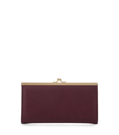 Burgundy Clip Top Frame Purse | New Look