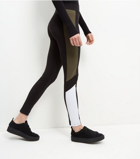 Black Colour Block Panel Leggings  | New Look