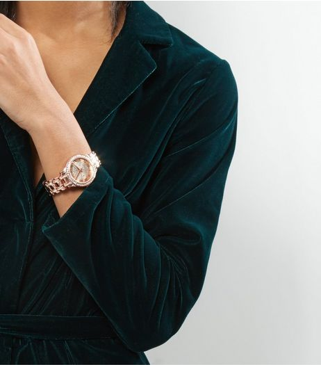 Rose Gold Premium Diamanté Sports Watch  | New Look