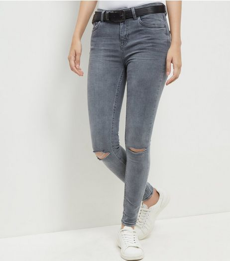 Grey Ripped Knee Skinny Jeans  | New Look