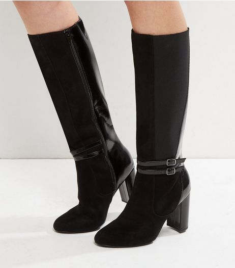 Wide Fit Black Patent Buckle Strap Heeled Boots | New Look
