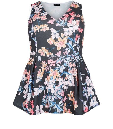 Curves Black Floral Print Peplum Top | New Look