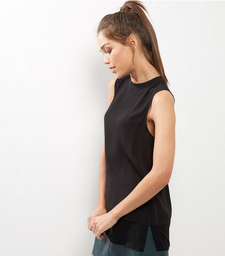 Black Sheer Panel Sleeveless Top  | New Look