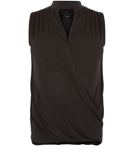 Curves Black Choker Wrap Sleeveless Top | New Look