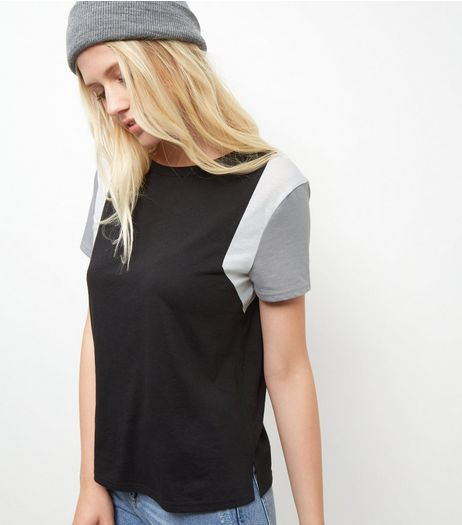 Black Colour Block T-Shirt  | New Look