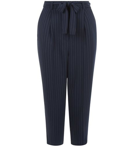 Petite Blue Pinstripe Belted Trousers | New Look